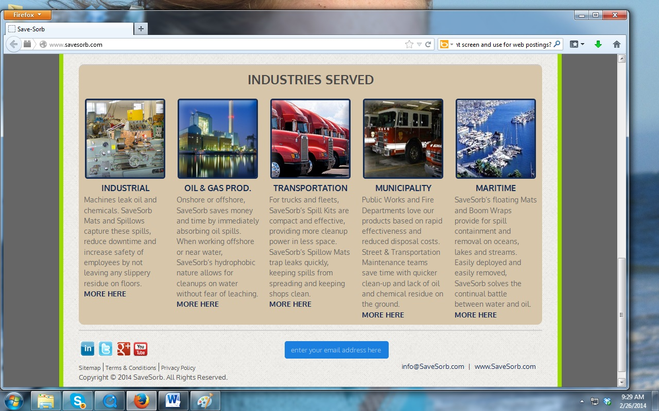 SaveSorb - Home Page - Industries Served